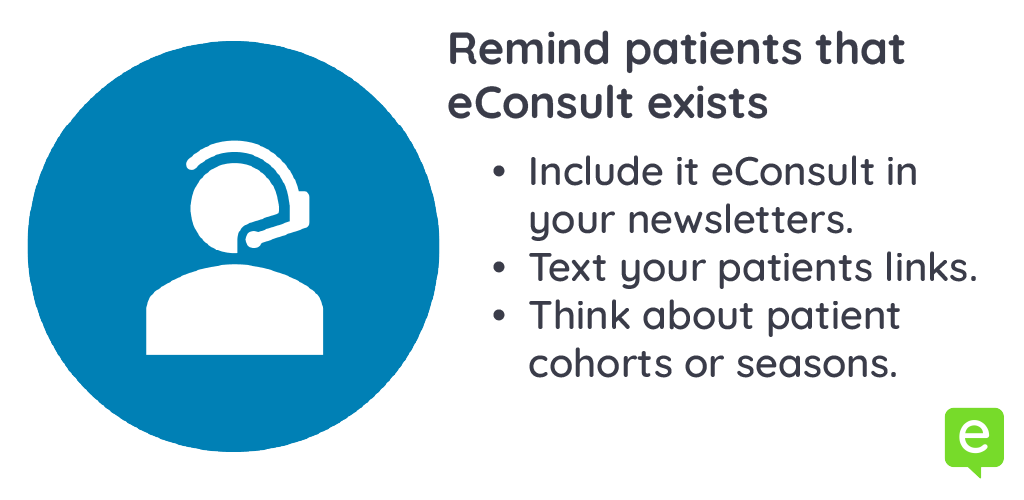 Image with 3 ways to remind patients about eConsult - patient education
